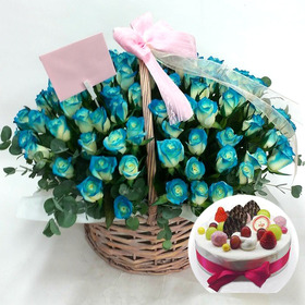 파란장미꽃바구니 & 케익[예약상품]